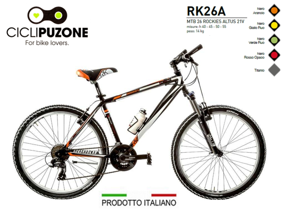BICI 26 ROCKIES 21V ALLUMINIO FORCELLA BLOCCABILE