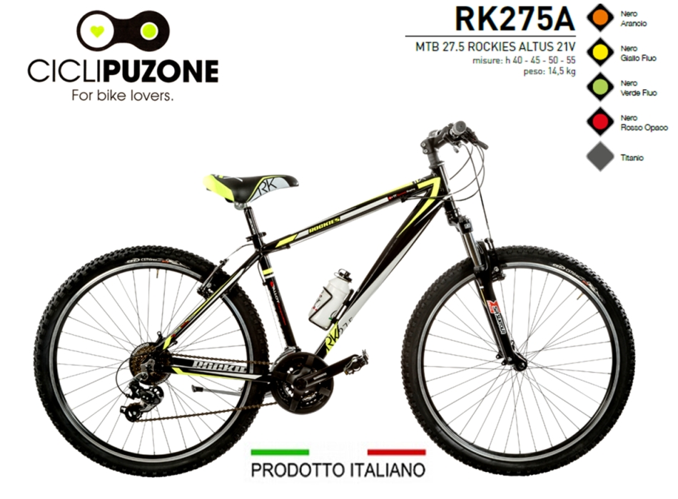 BICI 27.5 ROCKIES 21V ALLUMINIO FORCELLA BLOCCABILE
