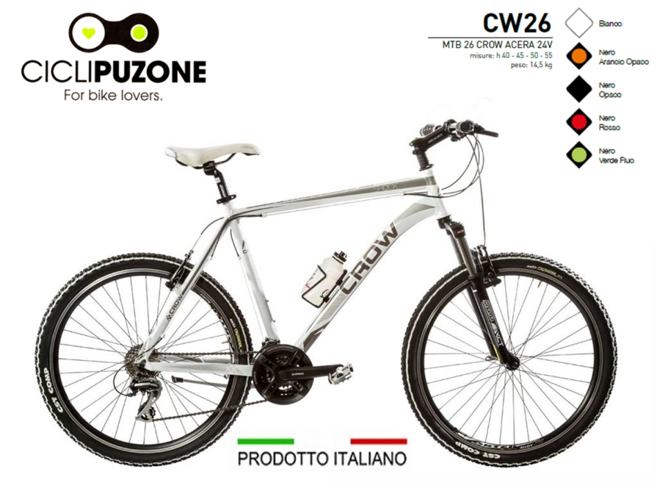 BICI 26 CROW ACERA 24V ALLUMINIO FORCELLA BLOCCABILE