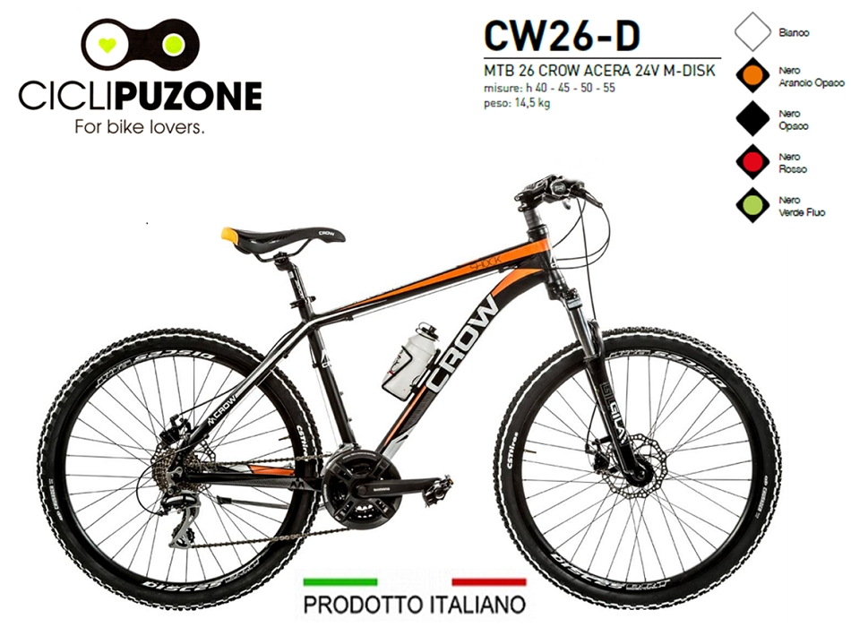 BICI 26 CROW ACERA 24V ALLUMINIO FORCELLA BLOCCABILE FRENI M-DISK