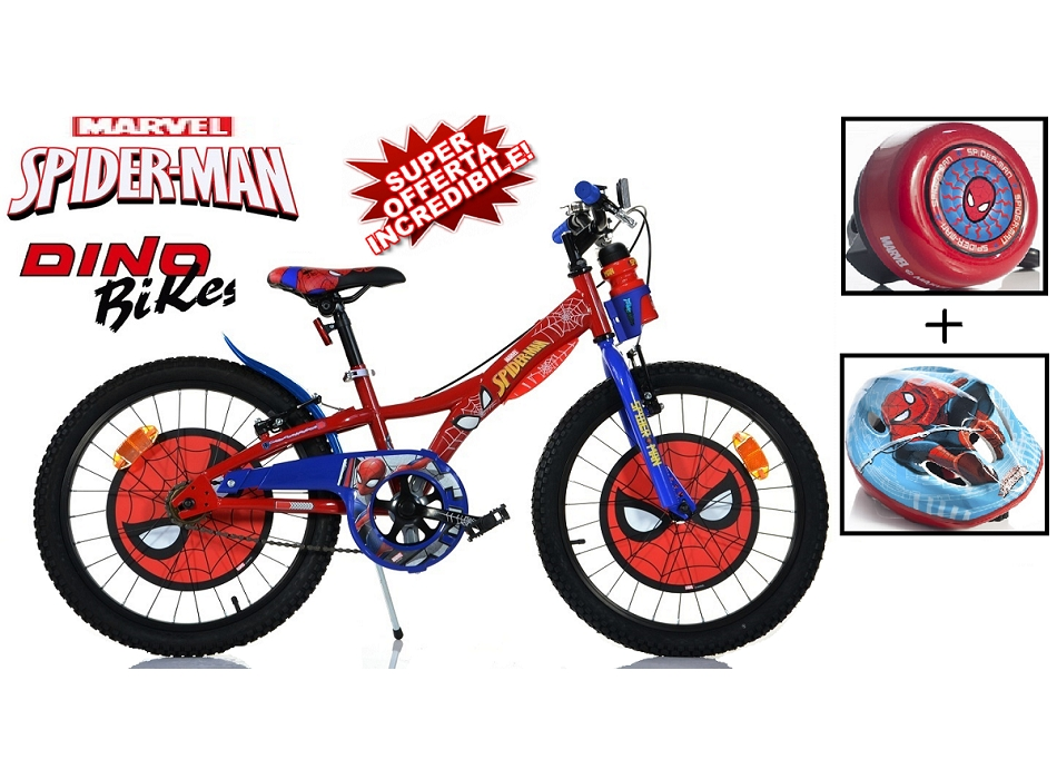 BICI 20 SPIDERMAN + CASCO + CAMPANELLO