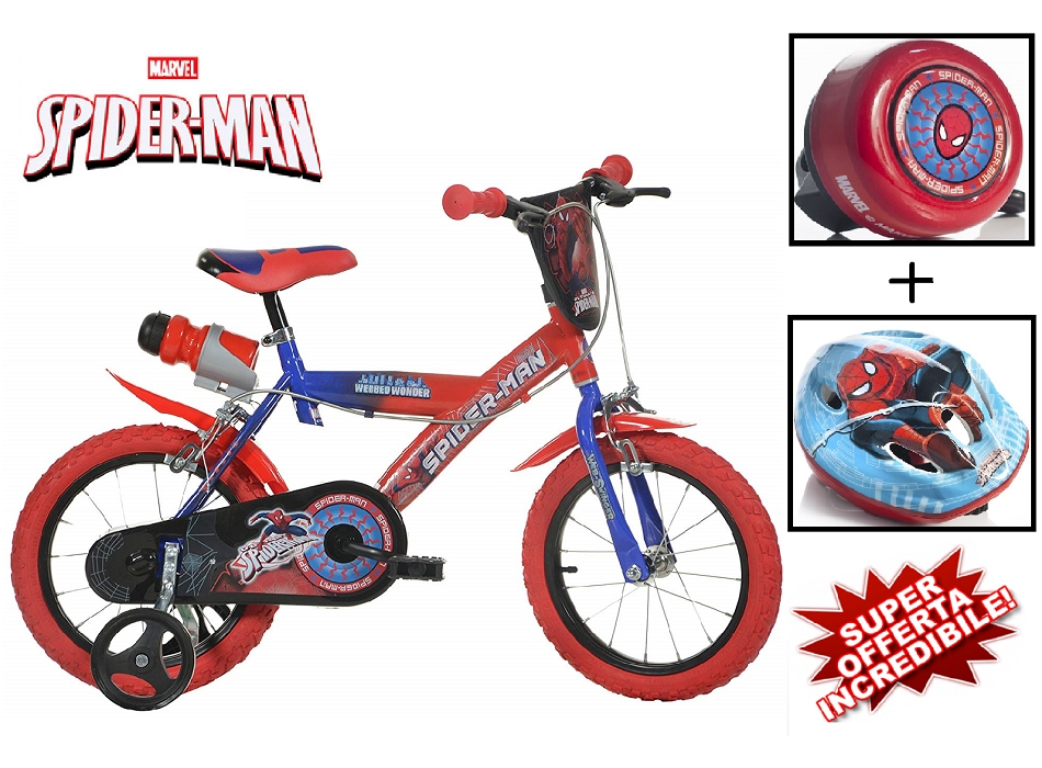 BICI 14 SPIDERMAN + CASCO + CAMPANELLO